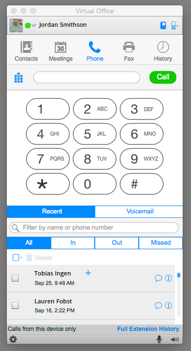 8x8 Virtual Office screenshot: Virtual Office Desktop