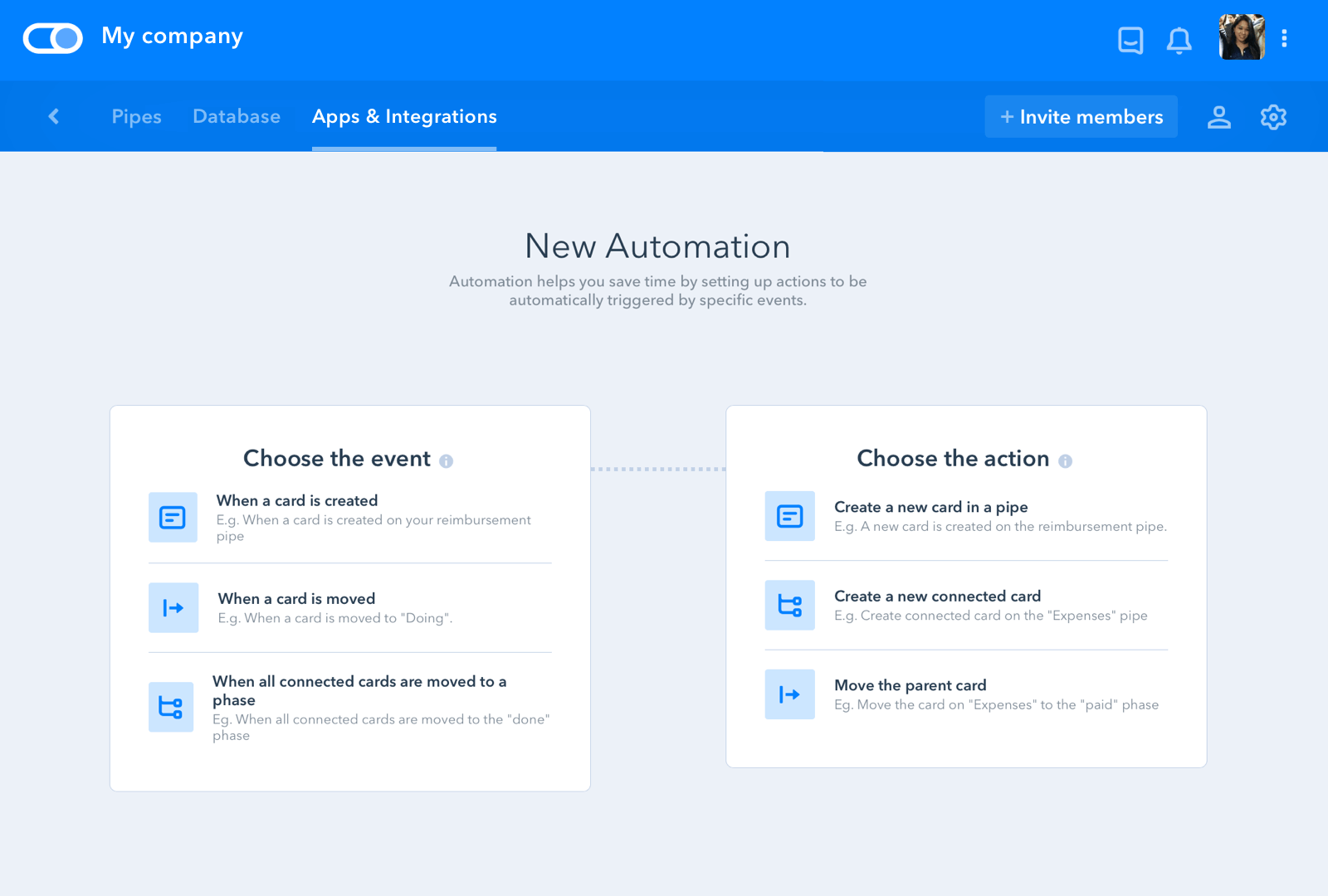 Pipefy screenshot: Set up workflow automations to trigger actions when a certain event is carried out
