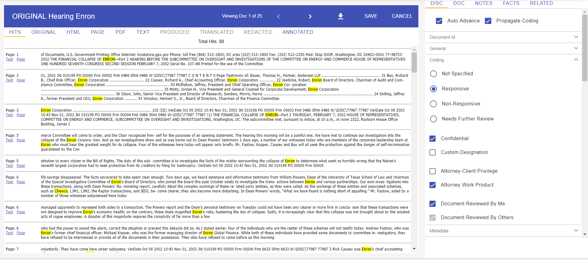 The Lexbe Hits View Shows Your Keywords Wrapped in 50 Words for Rapid Contextual Review