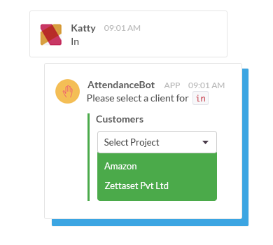 AttendanceBot allows users to track billable hours for clients or projects