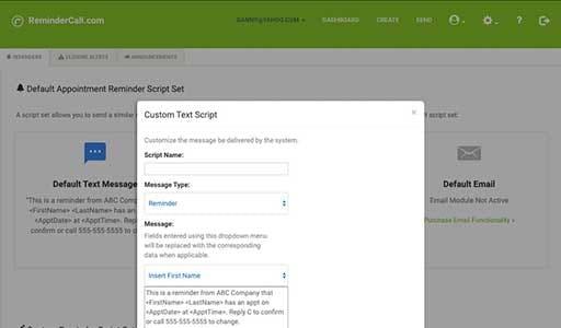 ReminderCall custom text script