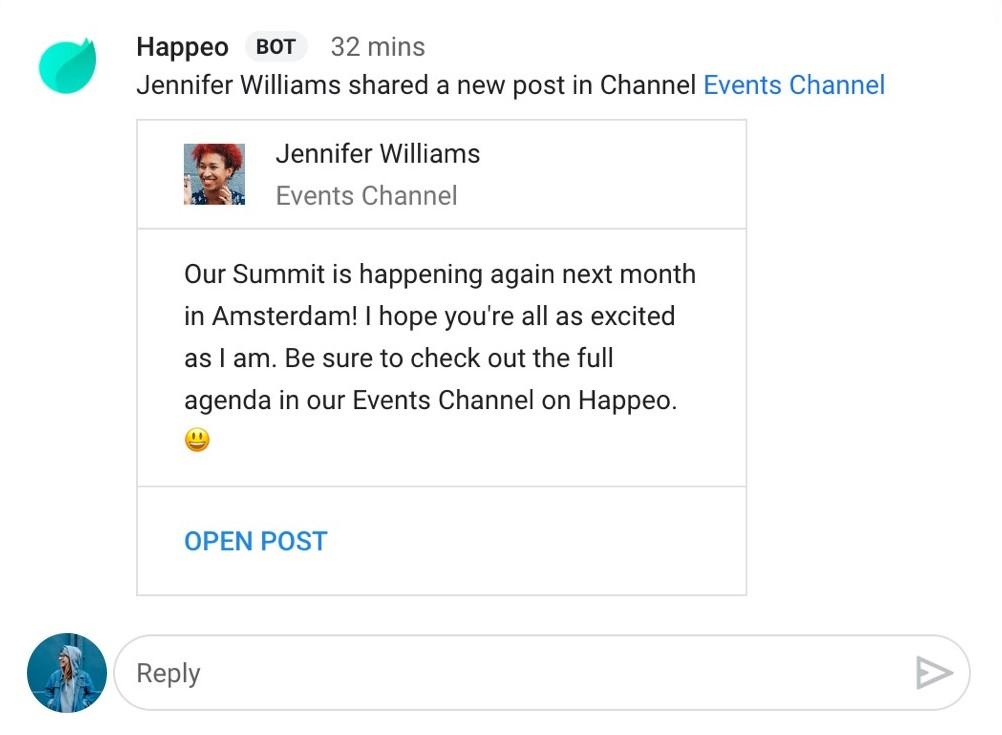 Happeo Google Chat integration screenshot
