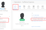 foundU screenshot: Operations management section allows users to assign managers to operations and manage approvals
