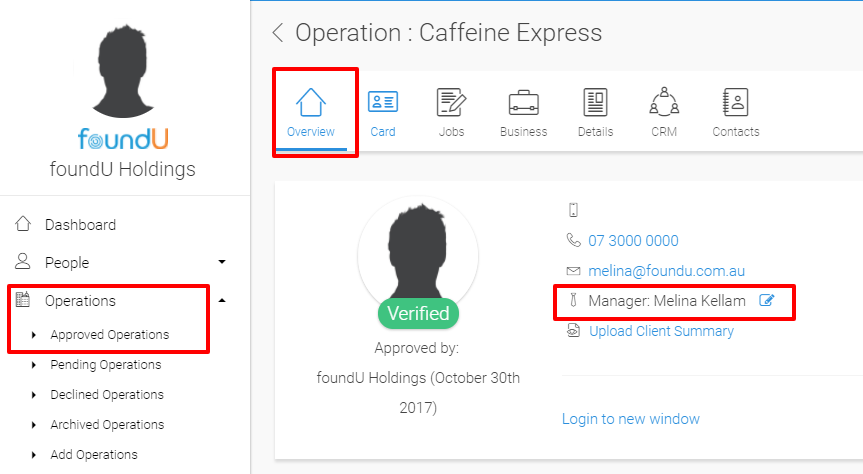 Operations management section allows users to assign managers to operations and manage approvals
