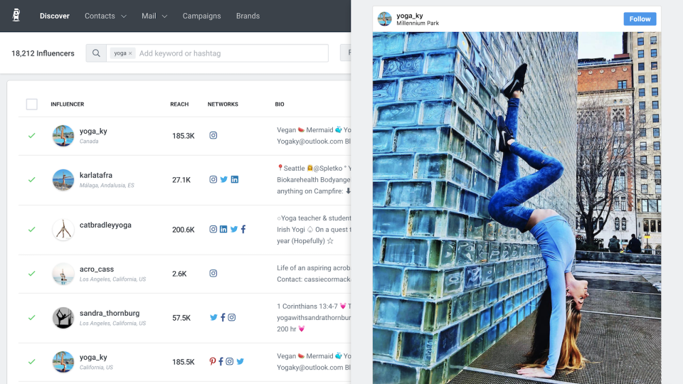 33m+ Influencer recruitment suite to find influencers across the world on every social platform including TikTok, Instagram and YouTube. Find influencers by audience, demographic, or even influencers who are current customers