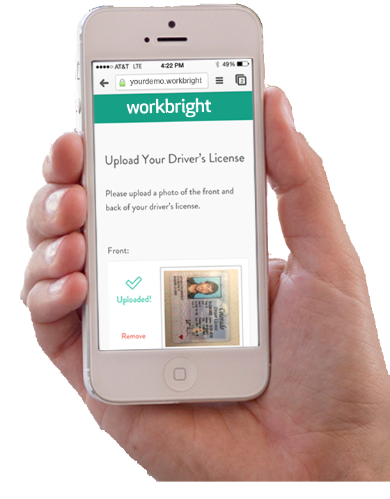WorkBright screenshot: Mobile photo upload features allow photos of licenses or certificates to be captured