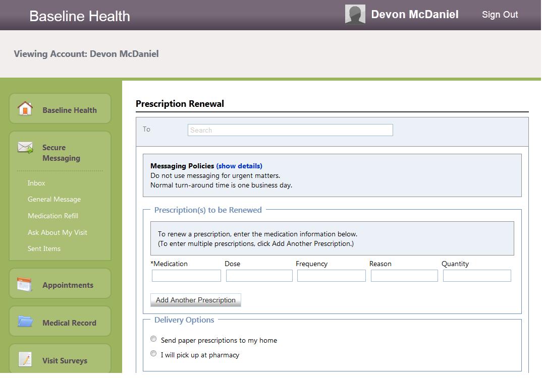 Cerner PowerChart Ambulatory EHR - Patient portal prescription refill request