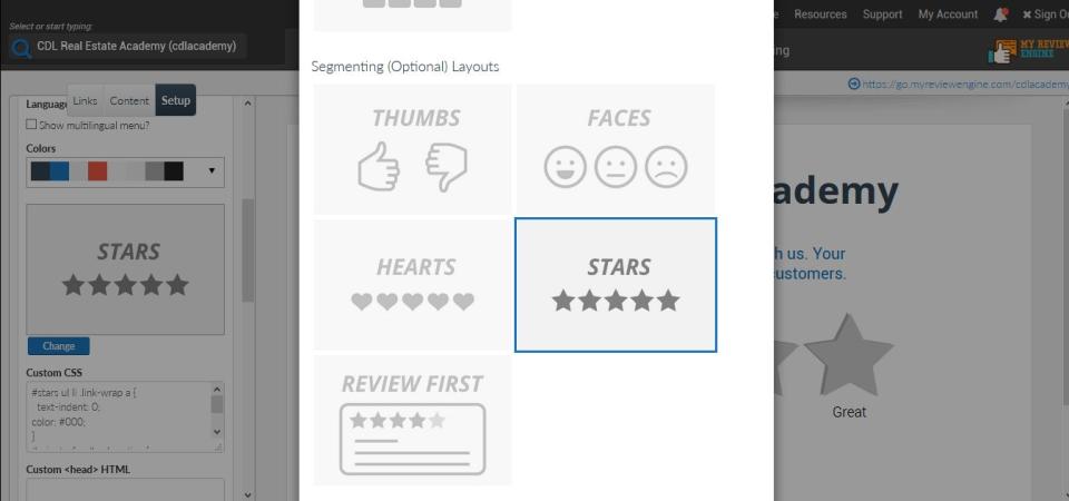 MyReviewEngine segmenting layout view