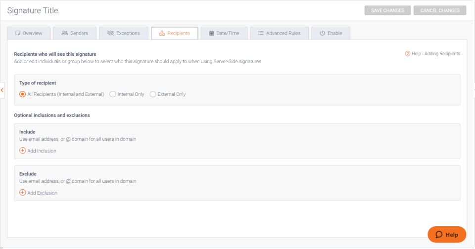 Exclaimer Cloud user interface