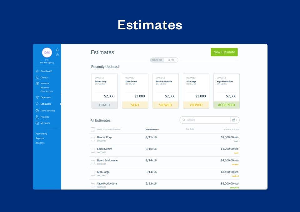 FreshBooks Software - FreshBooks estimates