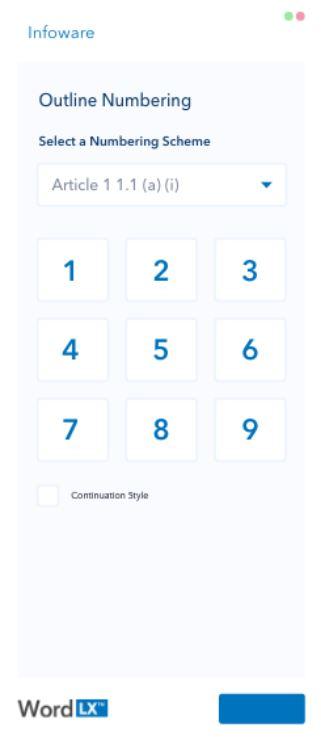Word LX numbering scheme