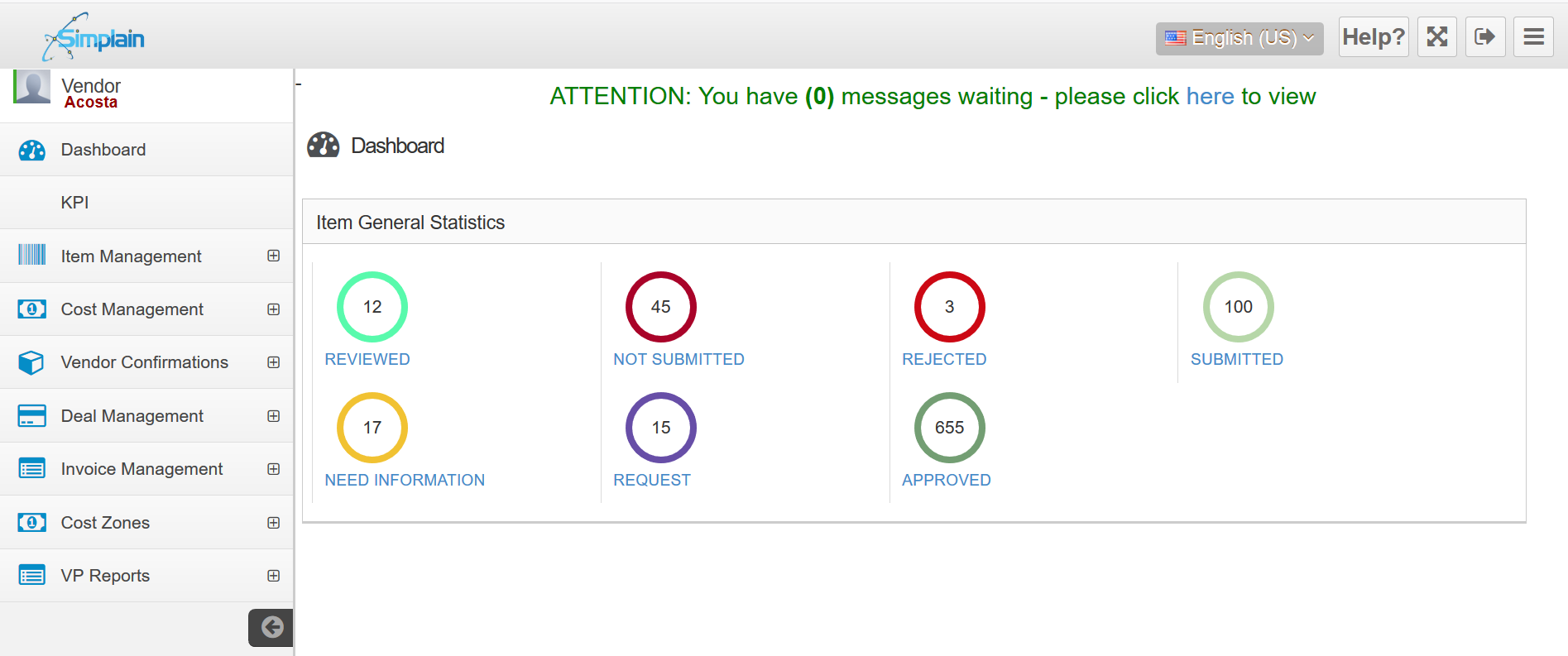Simplain Vendor Portal Dashboard