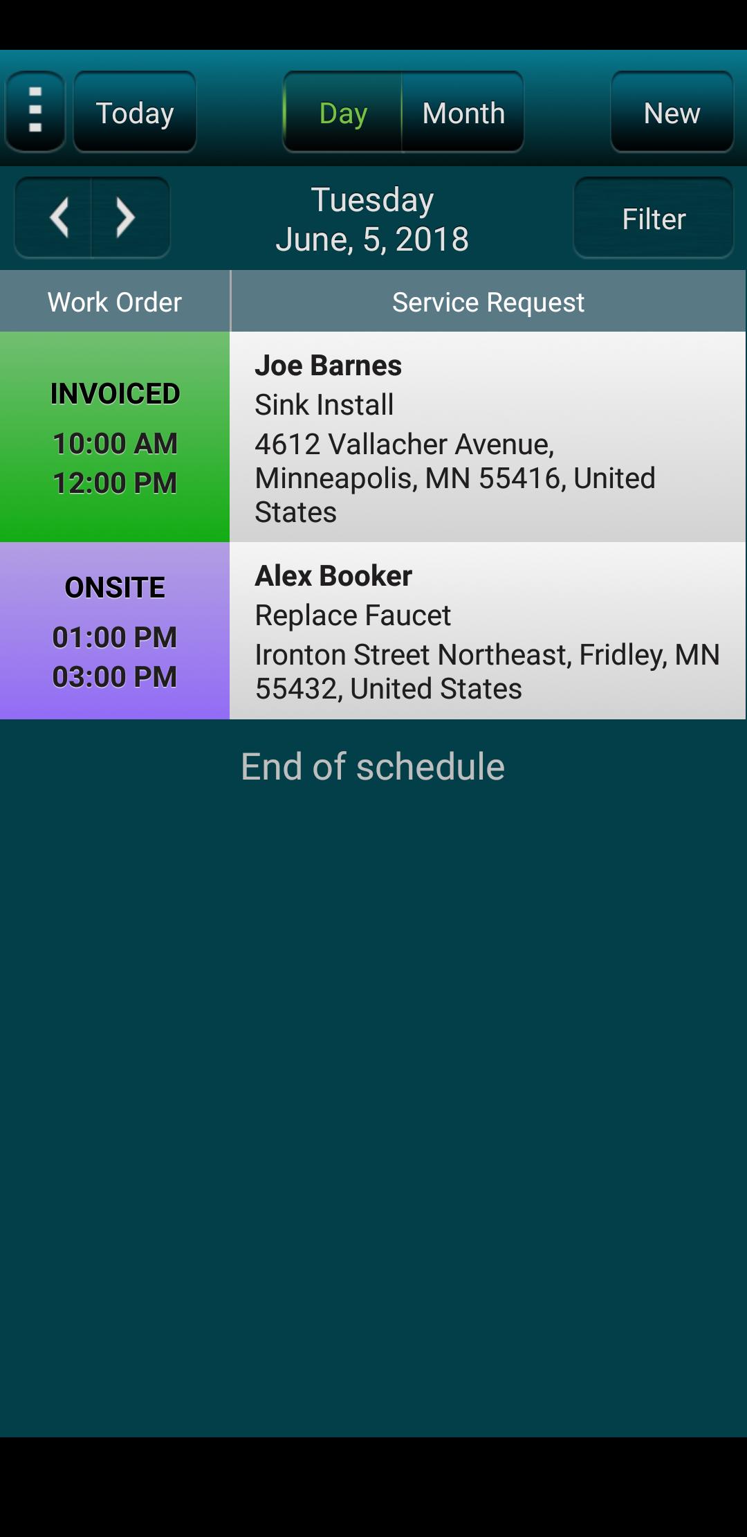 RazorSync schedule