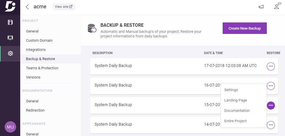 Document360 Software - Backup restore