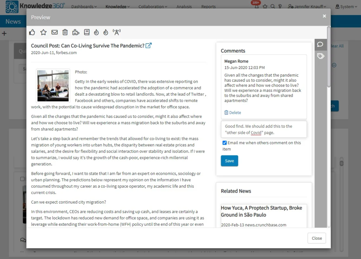 Knowledge360 Software - Knowledge360 preview functionality