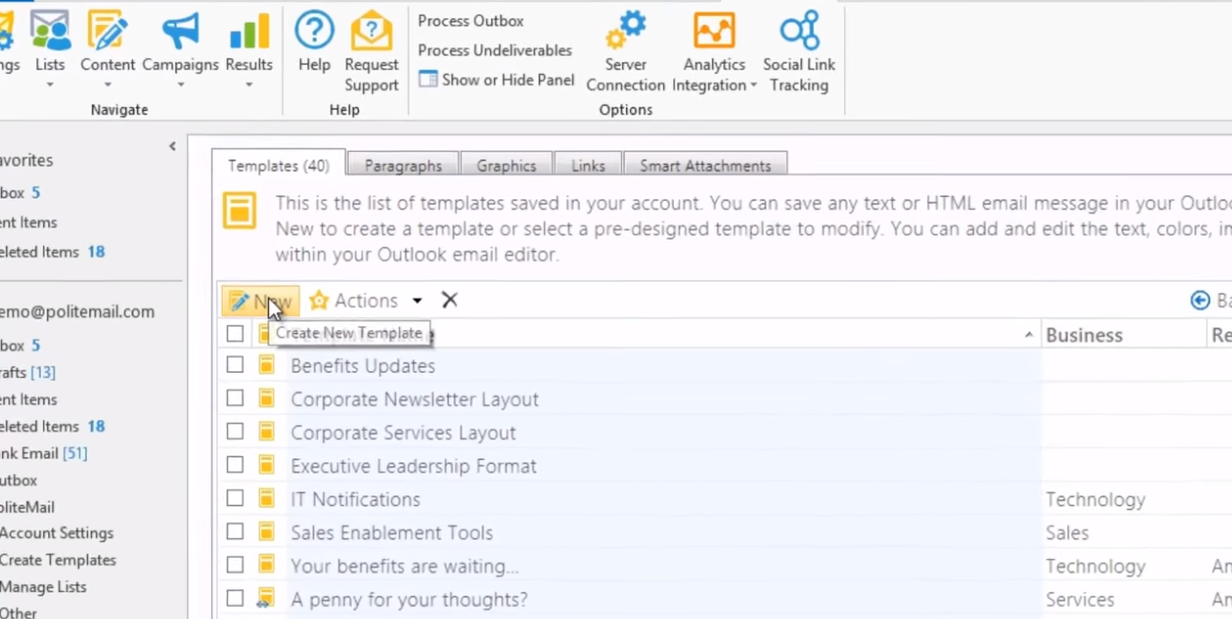 PoliteMail template creation screenshot