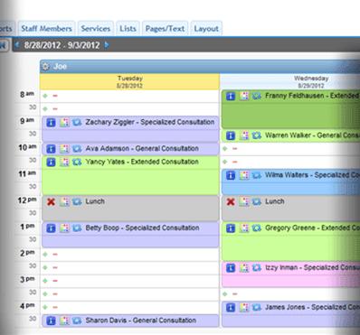AppointmentPlus Software - Desktop schedule