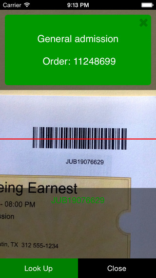 ThunderTix App - mobile image for a valid barcode ticket