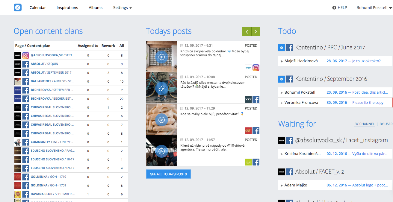 The dashboard displays all current content plans, posts planned for today, and tasks assigned to team members