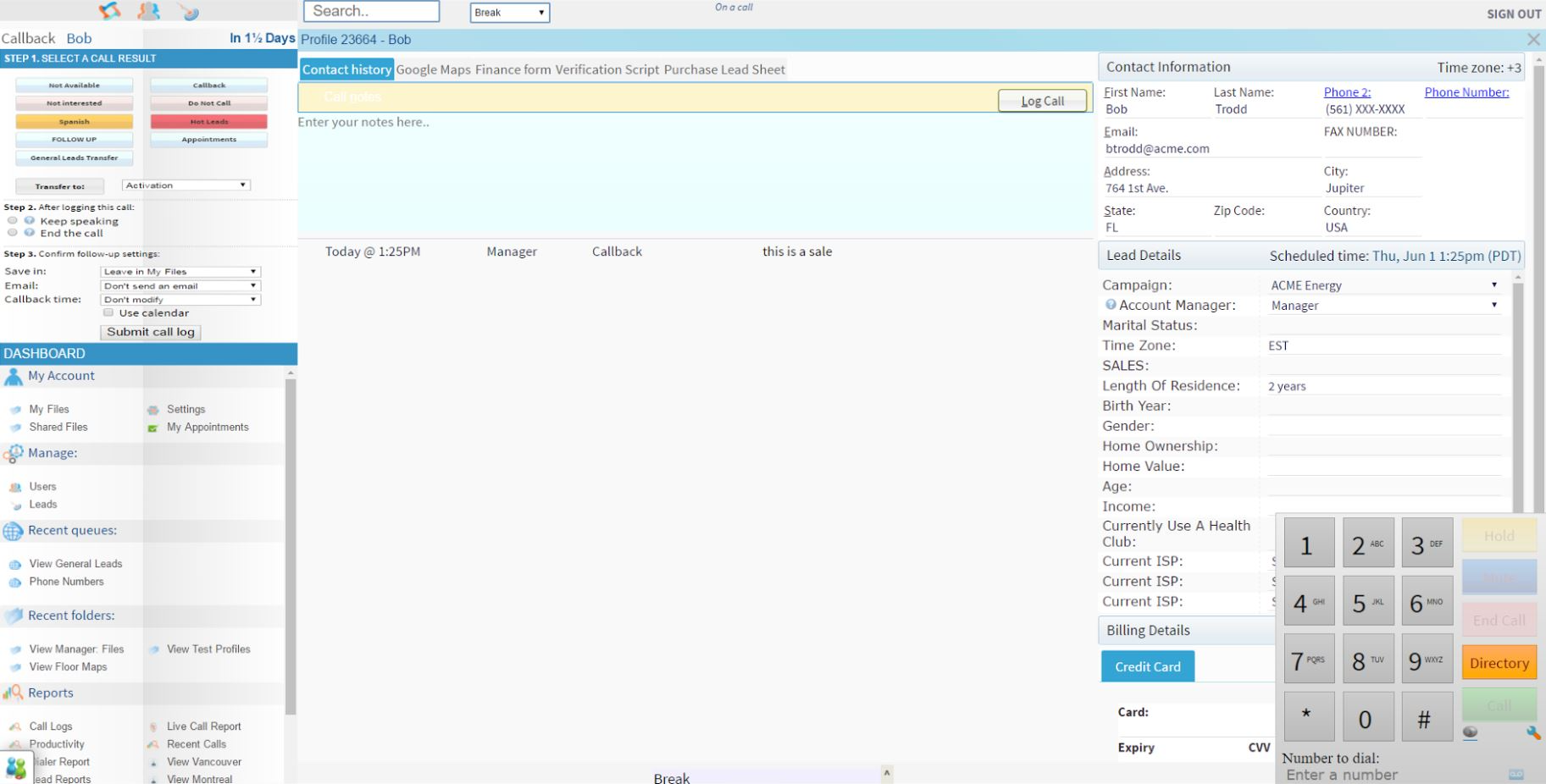 XenCall screenshot: Add custom data fields to lead profiles with an overlayed, built-in webphone.