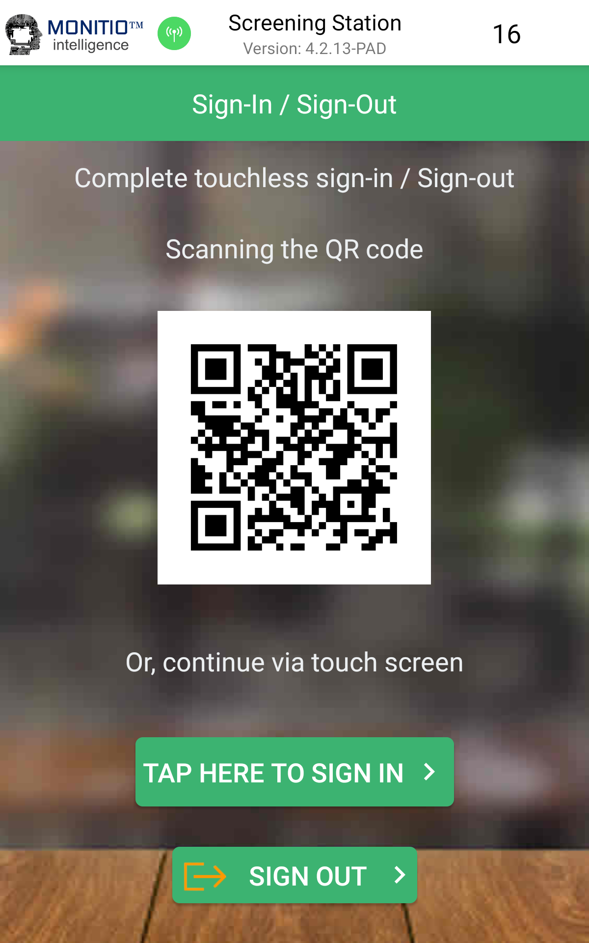 Touchless QR Code Sign in / out