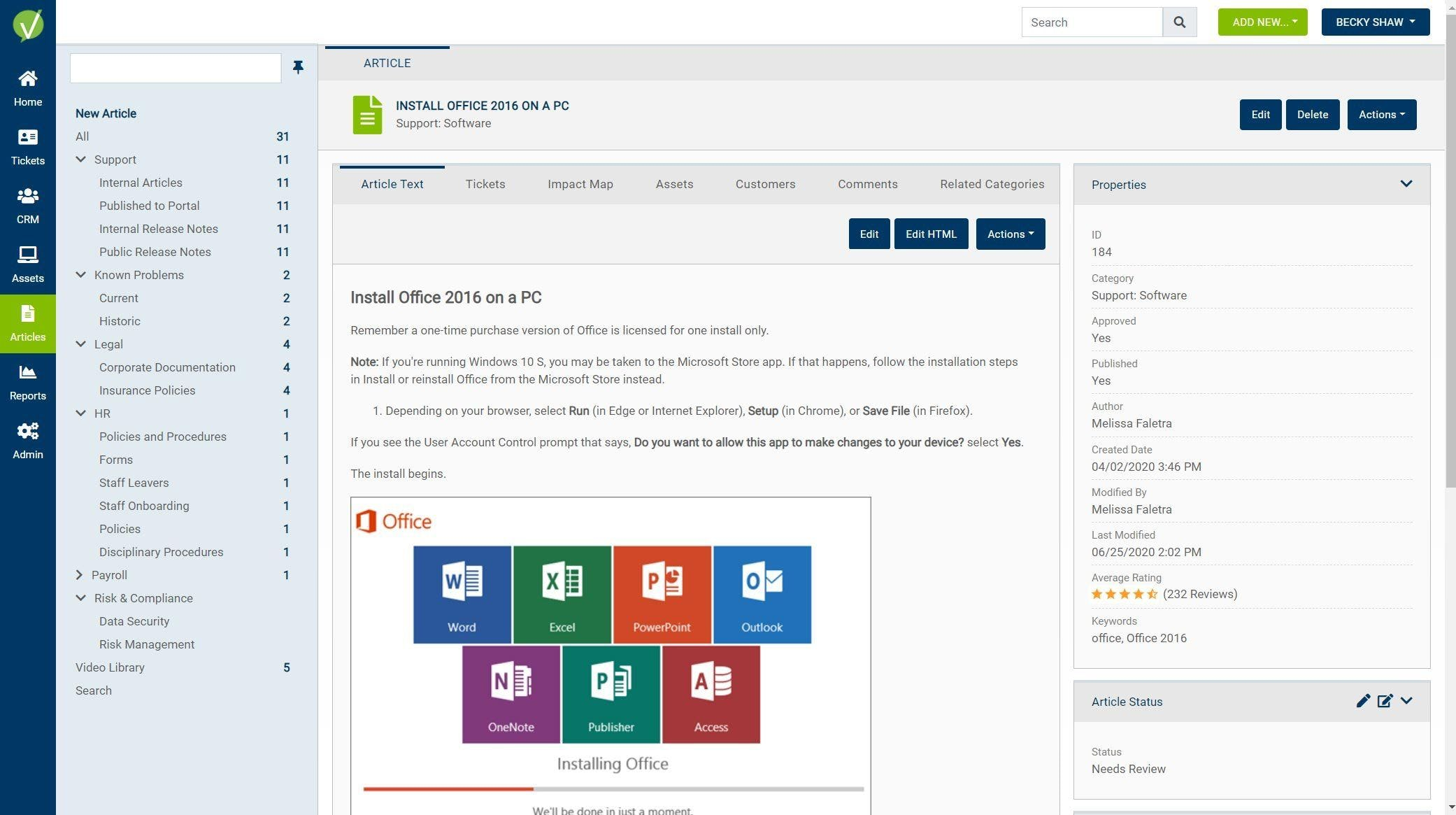 Vivantio Software - Knowledge Management. Can be used internally, as well as published to the customer Self Service portal.