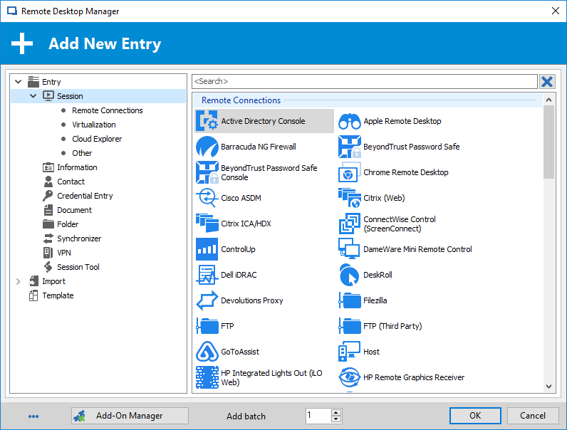 Remote Desktop Manager add new entry