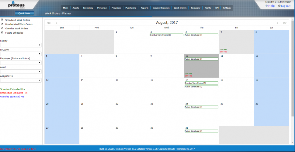 Proteus CMMS Software - Work order planning