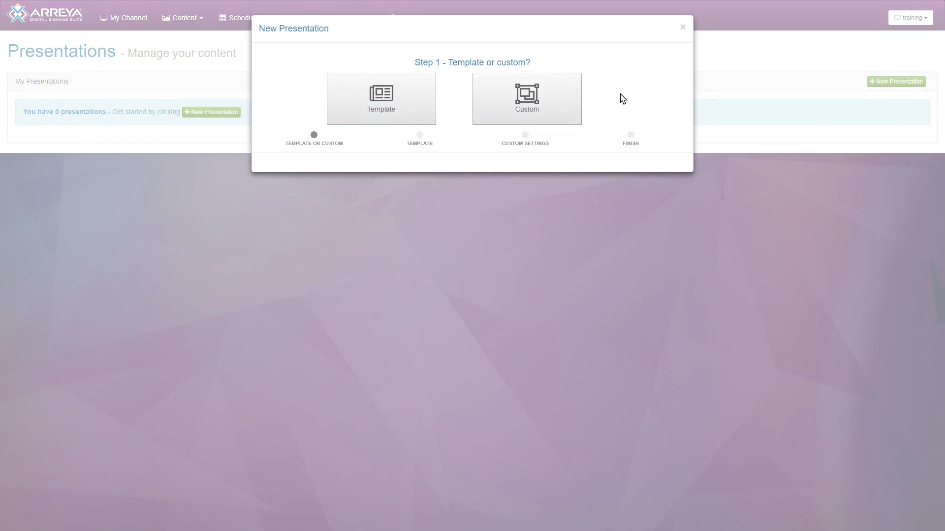 Users can choose whether to create their presentation from scratch or using a pre-built template