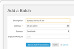 Realm screenshot: Realm enables users to batch enter contributions, such as Sunday collections