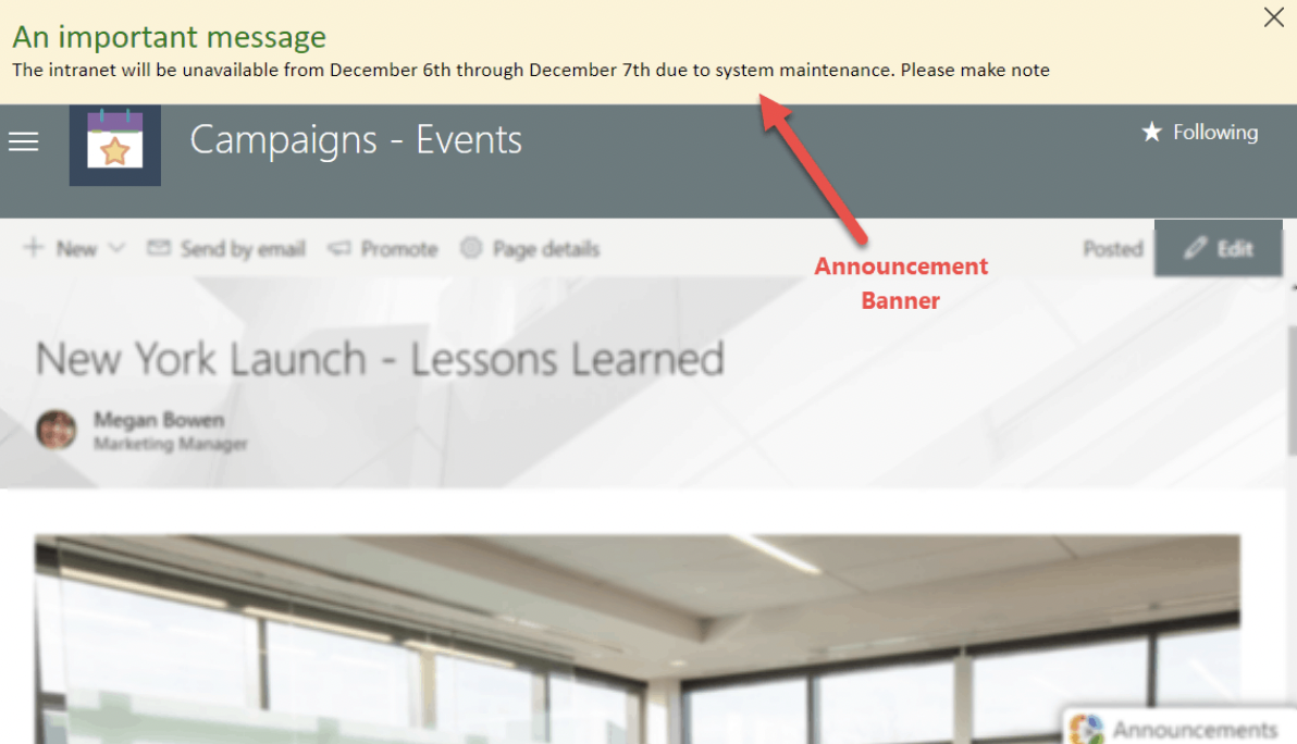 VisualSP's announcement bar displays a custom message at the top or bottom of any Microsoft 365 application.