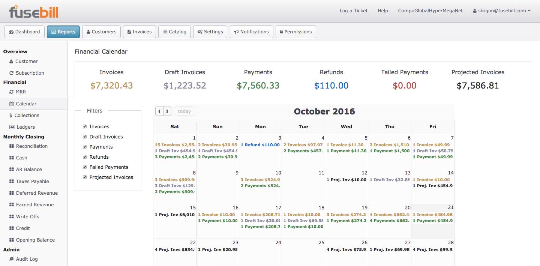 Fusebill Subscription Billing Software - Reports calendar
