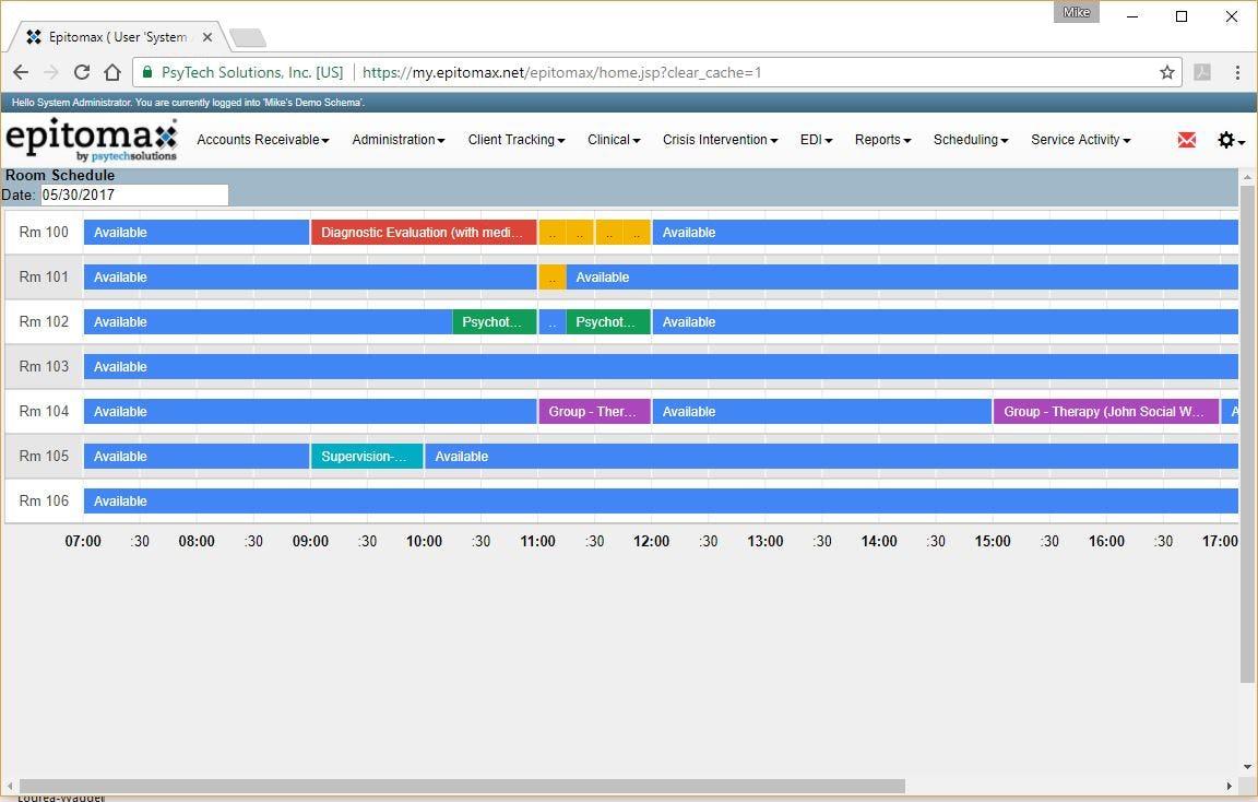 Epitomax Software - Room schedule