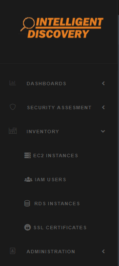 EC2 instances, IAM users, RDS instances, and SSL certificates can all be managed in Intelligent Discovery