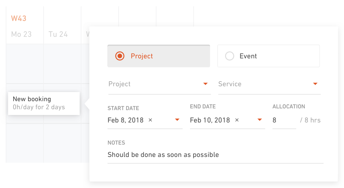Drag and drop allows projects and events to be assigned to team members to create a schedule booking