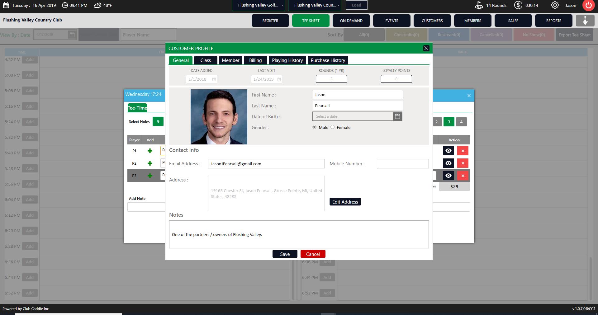 Club Caddie Software - Club Caddie customer profiles