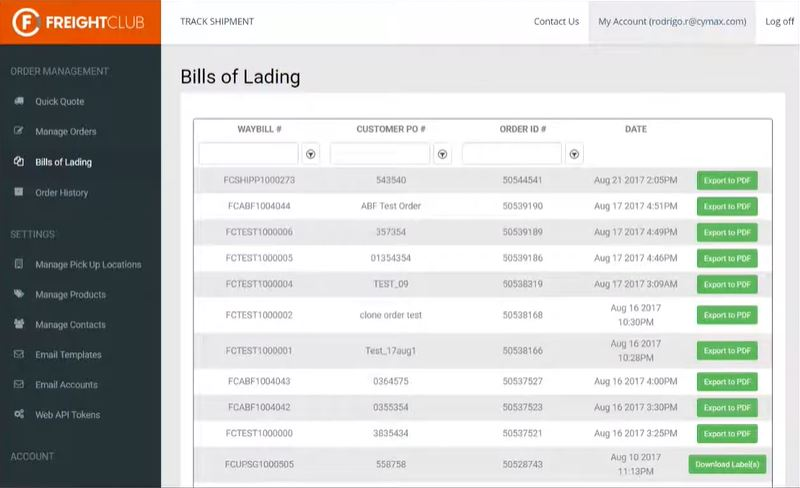 Freight Club bills of landing