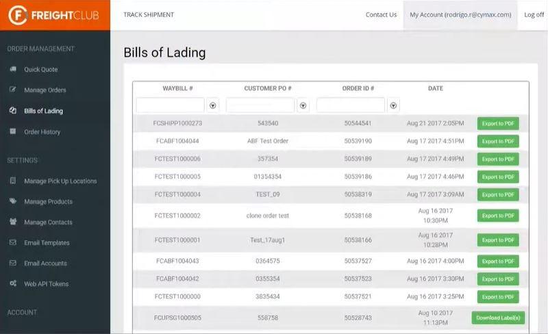 Freight Club Software - Freight Club bills of landing