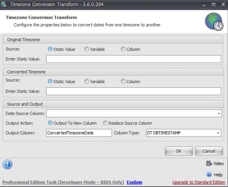 Task Factory Timezone Conversion Transform