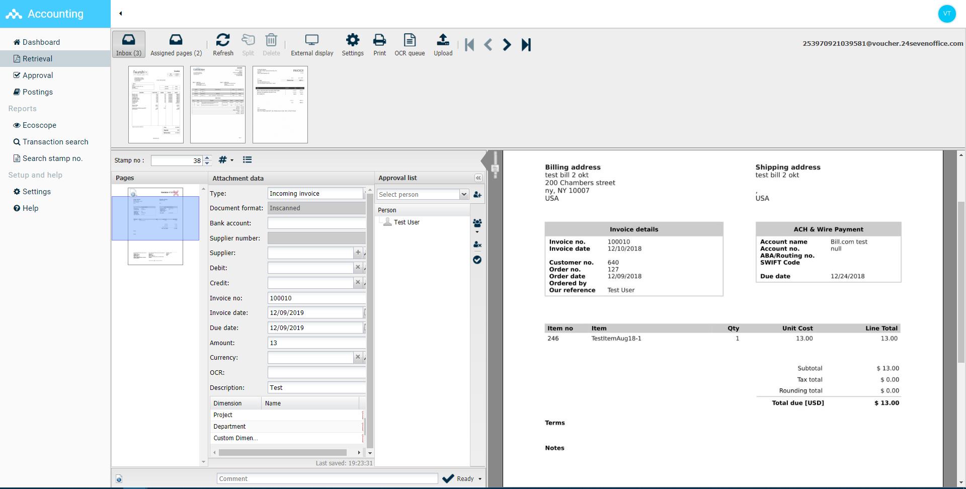 24SevenOffice Software - Invoice viewer