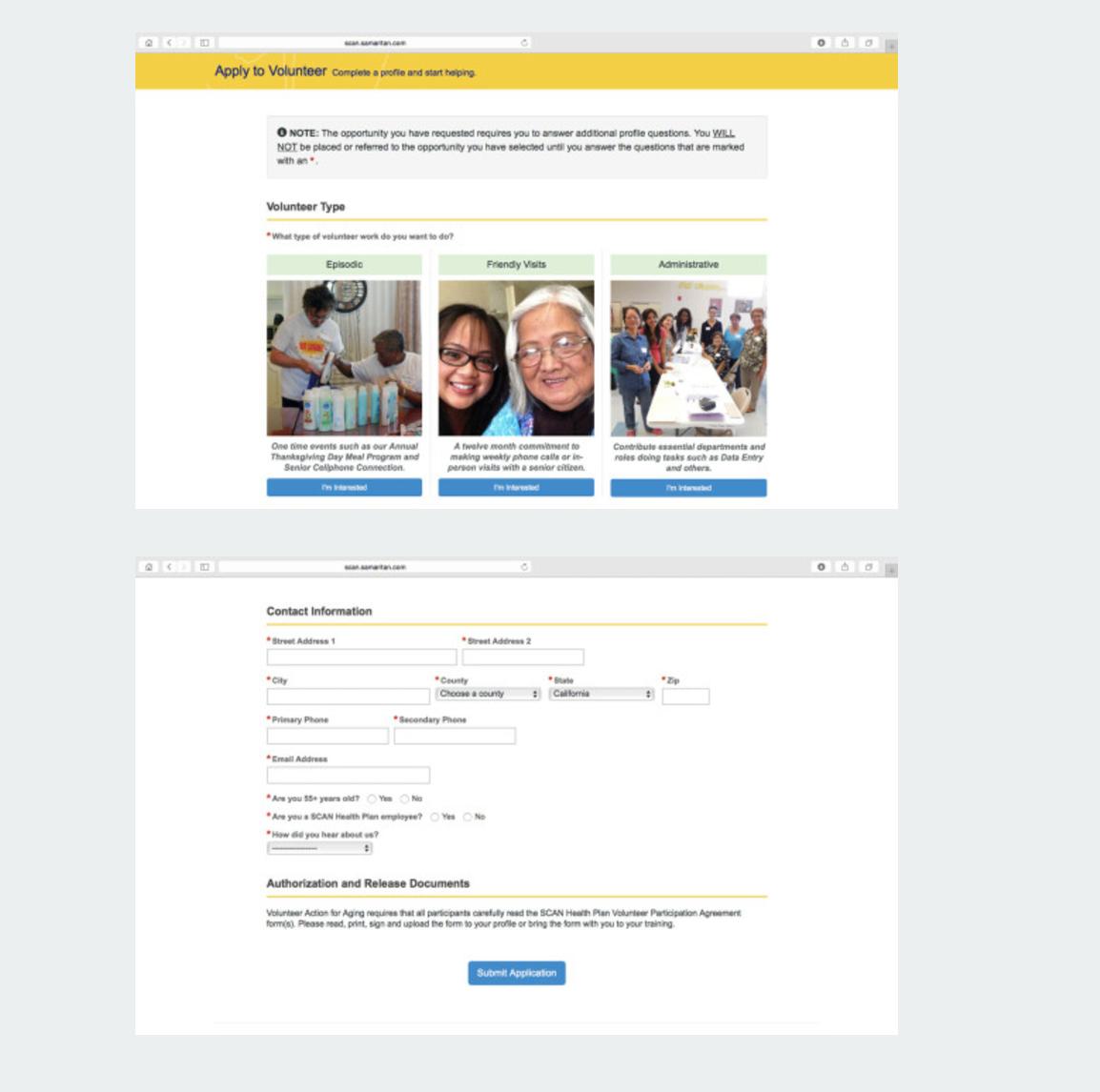 eCoordinator apply for volunteer program