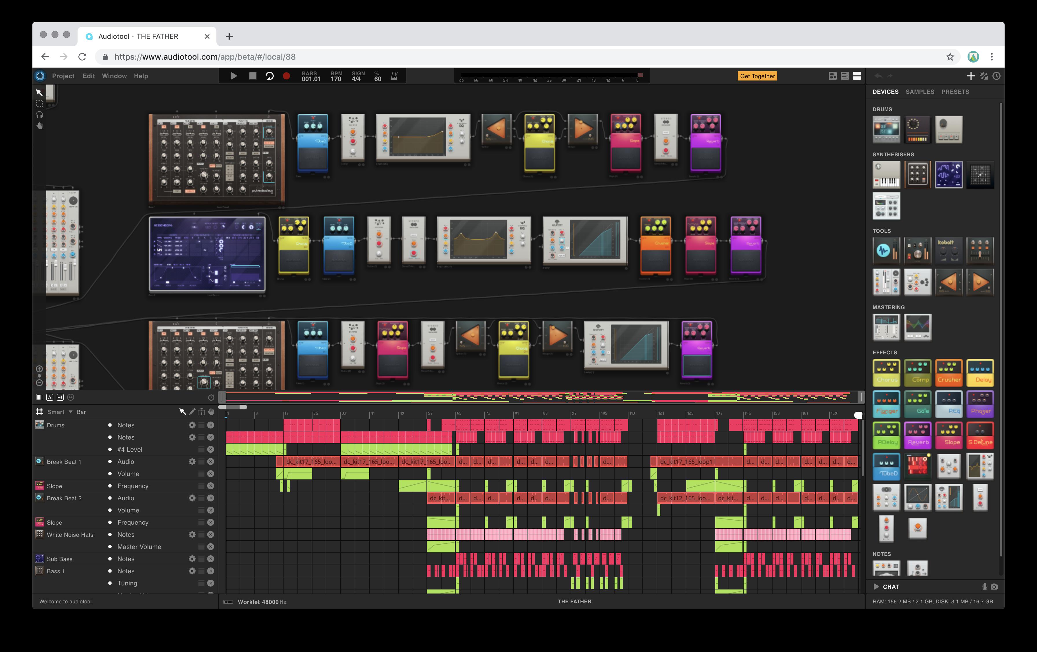Audiotool dashboard