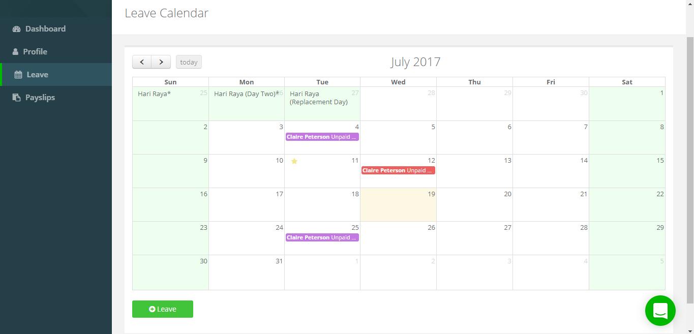 Team calendar view
