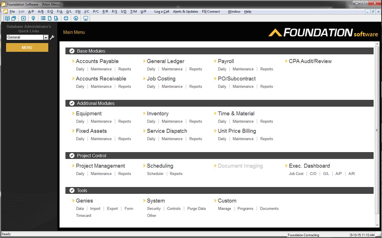 FOUNDATION Software - FOUNDATION Construction Accounting main menu