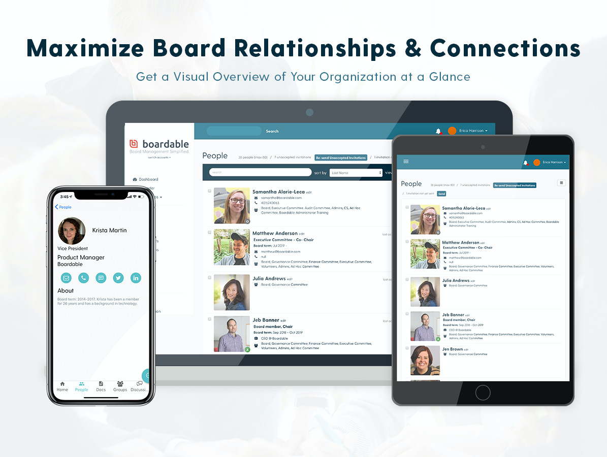 Board members volunteer time and energy on top of their careers (and personal lives) to help your organization thrive. That can leave little time for everyone to connect with each other. That's why we made the People Directory.