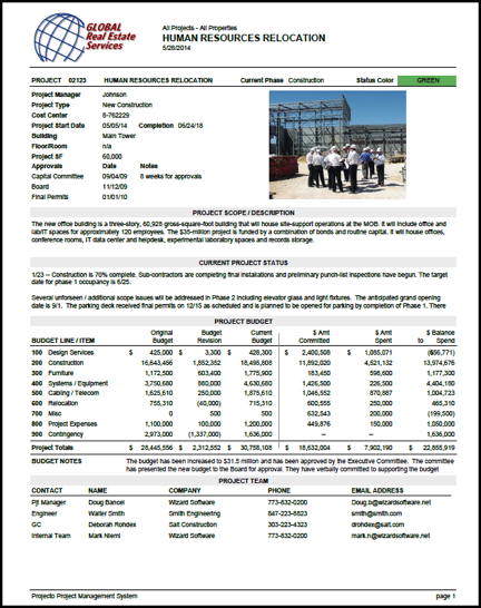 One page project summary report