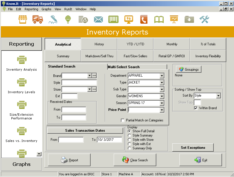 Inventory analysis setup