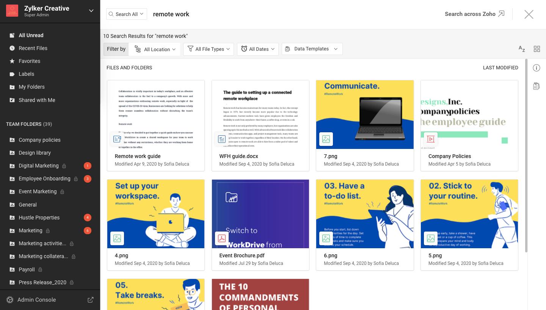 Zoho WorkDrive Software - 2