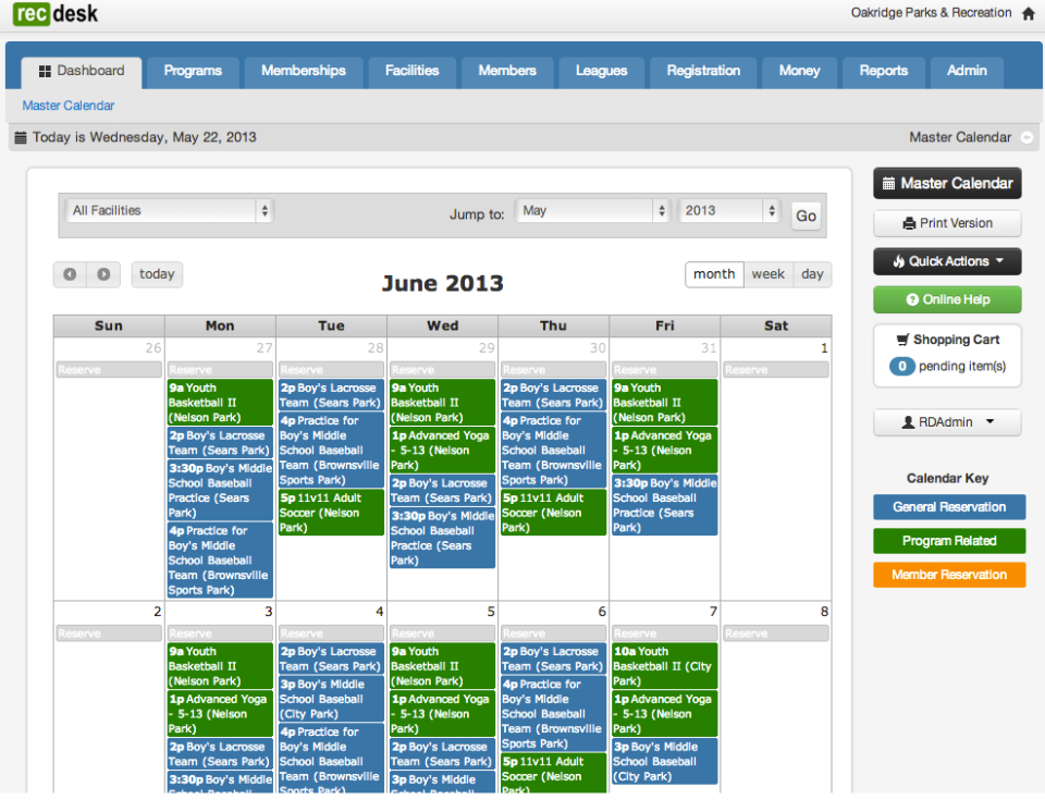 The Master Calendar gives users an overview of all reservations and programs