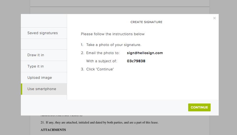 HelloSign create signature